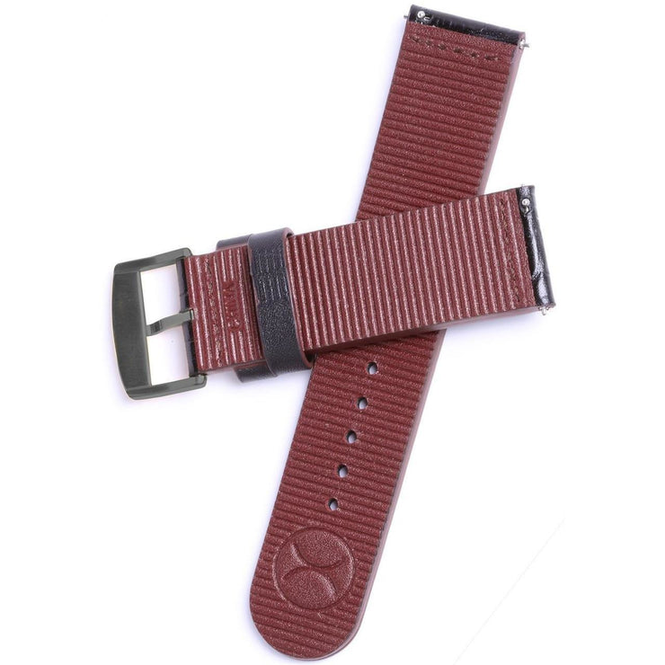 Xeric 22mm Black Croc Leather Strap with Gunmetal Buckle