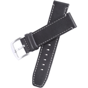 Xeric 22mm Black Leather Strap with Stitching