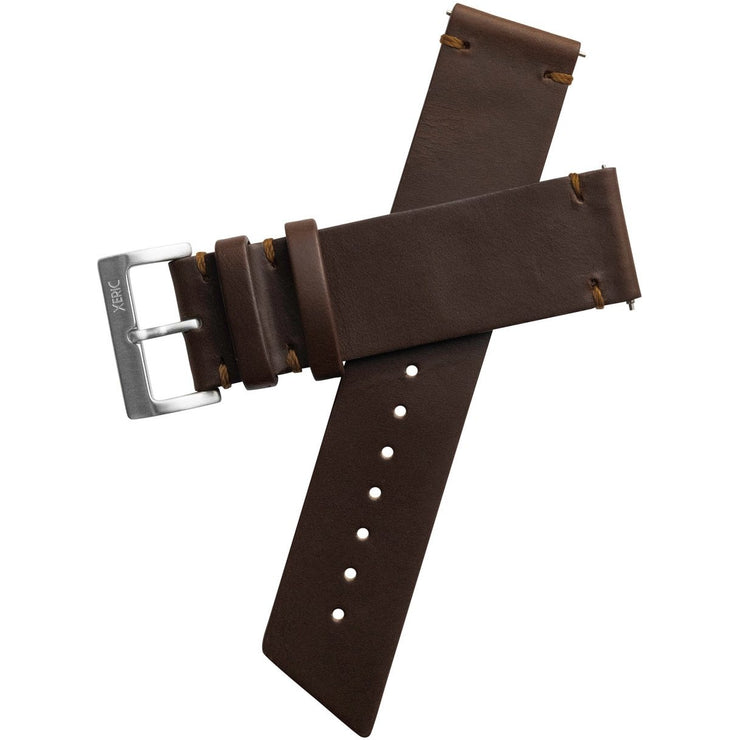 Xeric 22mm Horween Beaufort Leather Brown Strap Silver Buckle