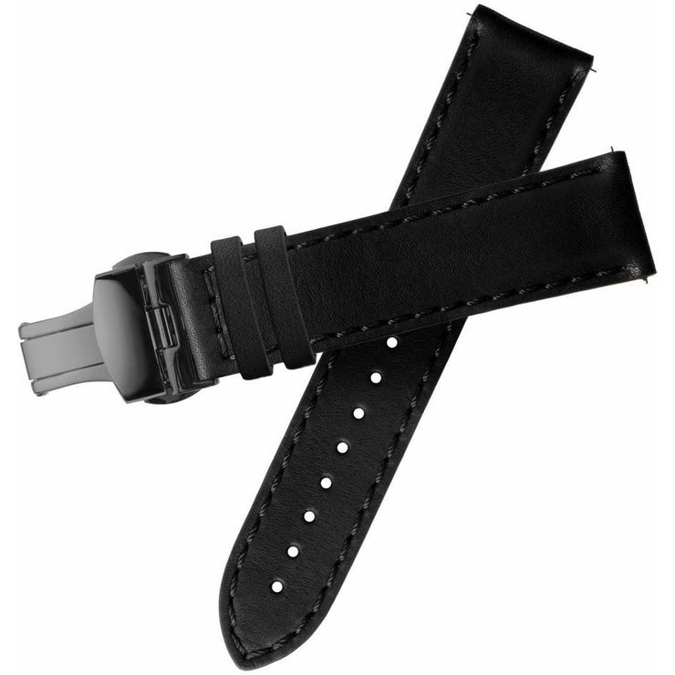 Xeric 20mm Horween Black Chromexcel Strap with Gunmetal Deployant Clasp