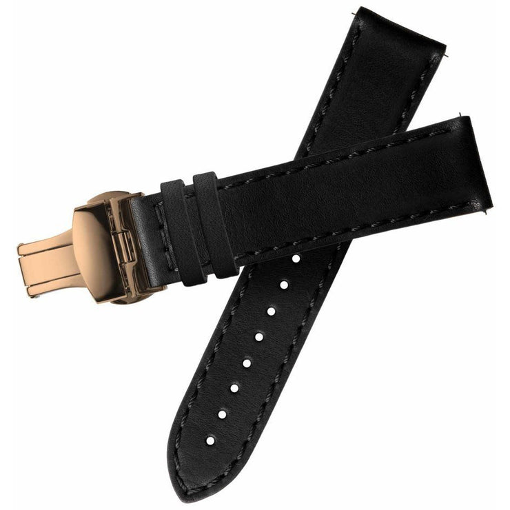 Xeric 20mm Horween Black Chromexcel Strap with Rose Gold Deployant Clasp