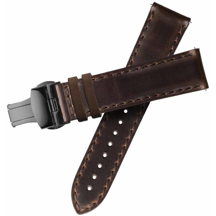 Xeric 20mm Horween Brown Chromexcel Strap with Gunmetal Deployant Clasp