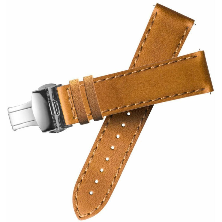 Xeric 20mm Horween Tan Chromexcel Strap with Silver Deployant Clasp
