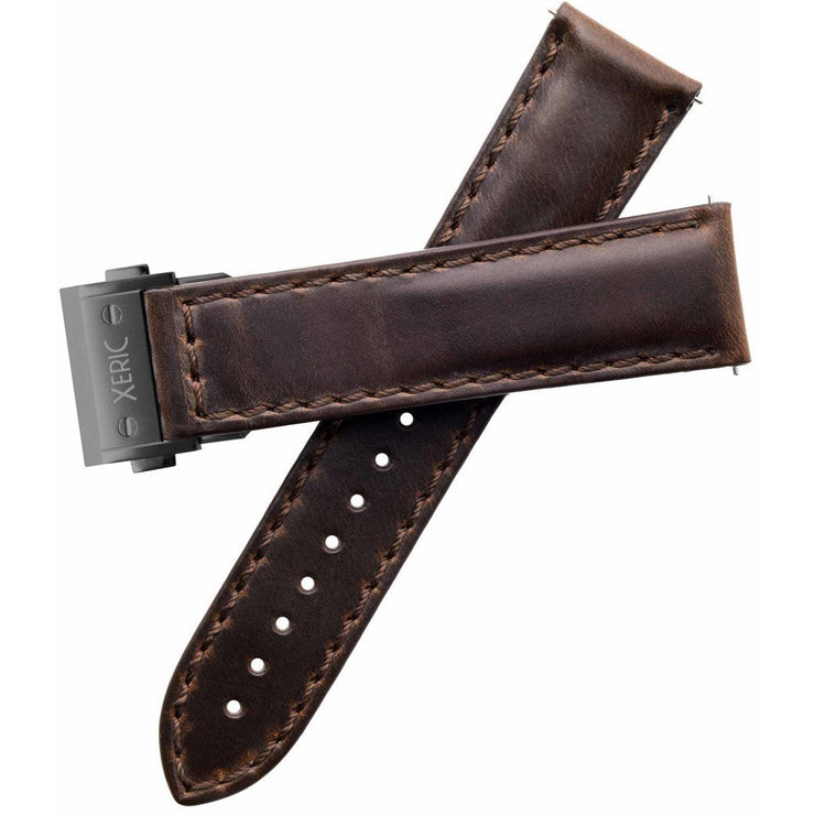 Xeric 22mm Horween Brown Chromexcel Strap with Gunmetal Hidden Deployant Clasp