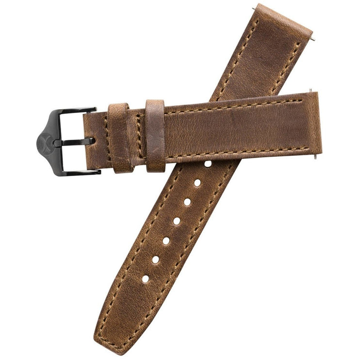 Xeric 20mm Horween Full Stitched Brown Gun Leather Strap