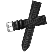 Xeric 22mm Herringbone Tweed Black Strap Silver Buckle
