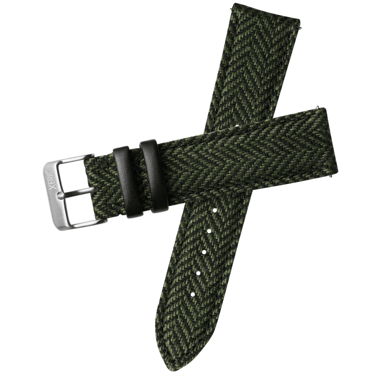 Xeric 22mm Herringbone Tweed Green Strap Silver Buckle