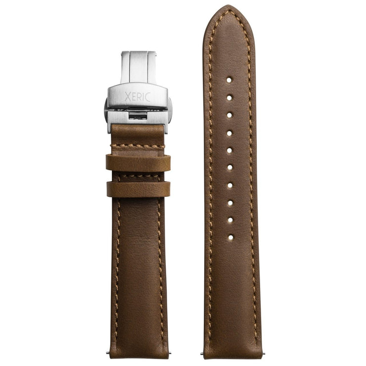 Xeric 20mm Horween Chromexcel Leather Brown Strap Silver Deployant Clasp