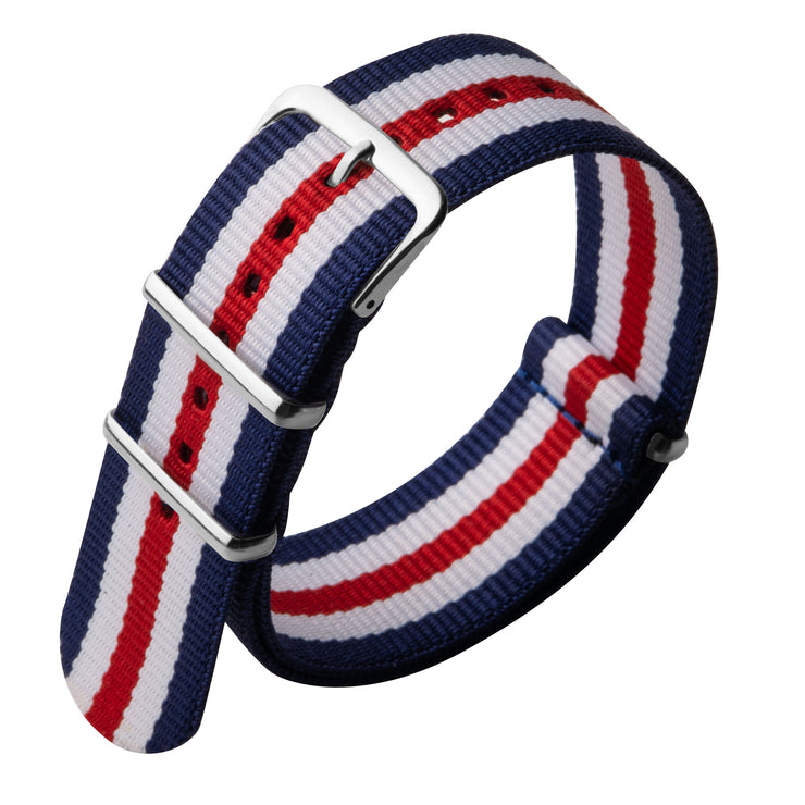 Xeric 22mm Military Strap Red White Blue with Silver Hardware