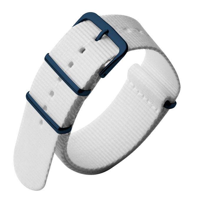 Xeric 22mm Military Strap White with Blue Hardware