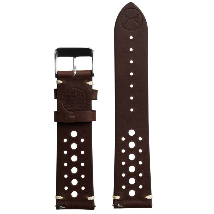 Xeric 22mm Horween Leather Racing Dark Brown Strap Silver Buckle