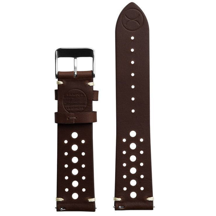 Xeric 20mm Horween Leather Racing Dark Brown Strap Silver Buckle