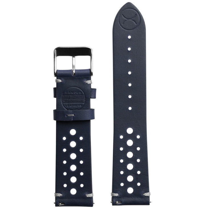 Xeric 22mm Horween Leather Racing Navy Strap Silver Buckle