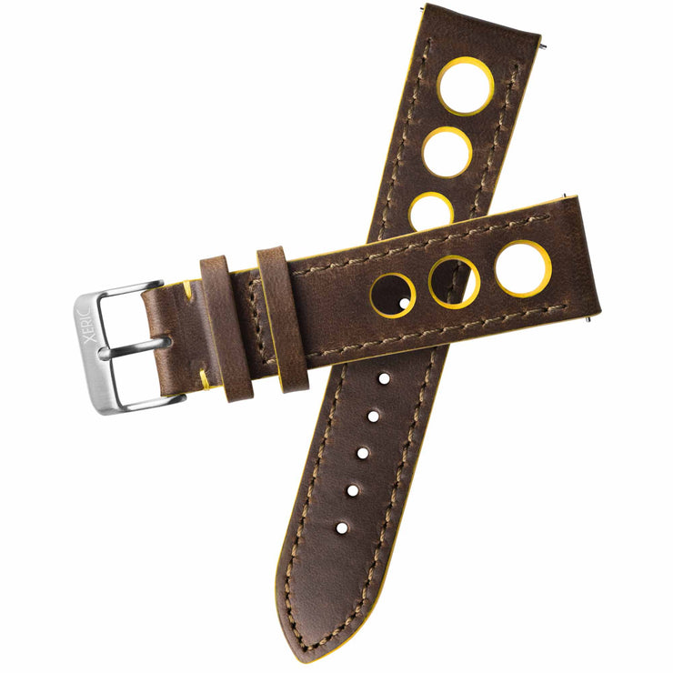 Xeric 22mm Horween Leather Rally Brown Yellow Strap Silver Buckle