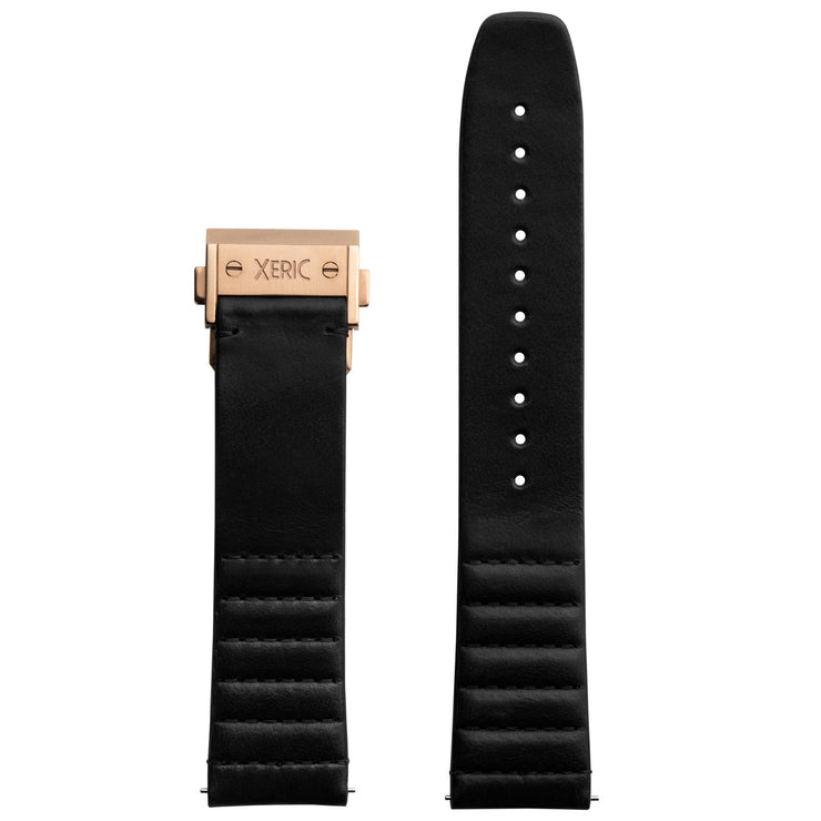 Xeric 22mm Ribbed Horween Leather Black Strap with Rose Gold Deployant Clasp