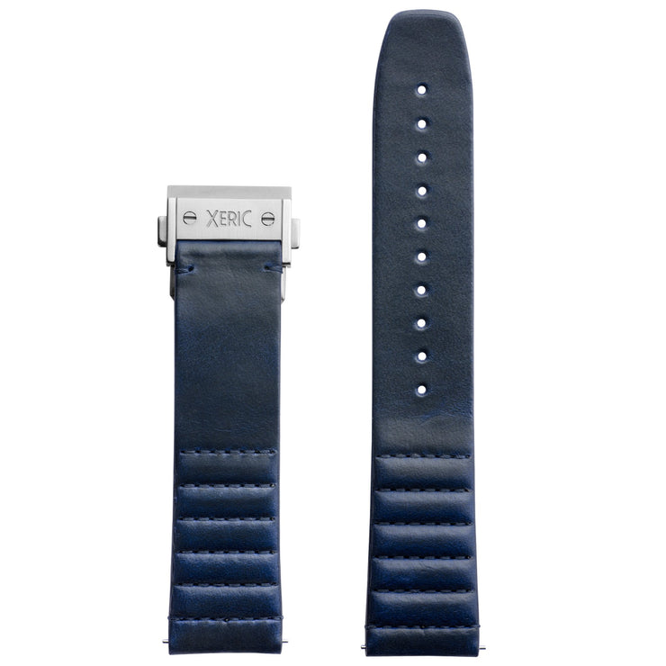 Xeric 22mm Ribbed Horween Leather Blue Strap with Silver Deployant Clasp