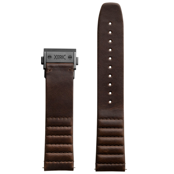 Xeric 22mm Ribbed Horween Leather Brown Strap with Gunmetal Deployant Clasp