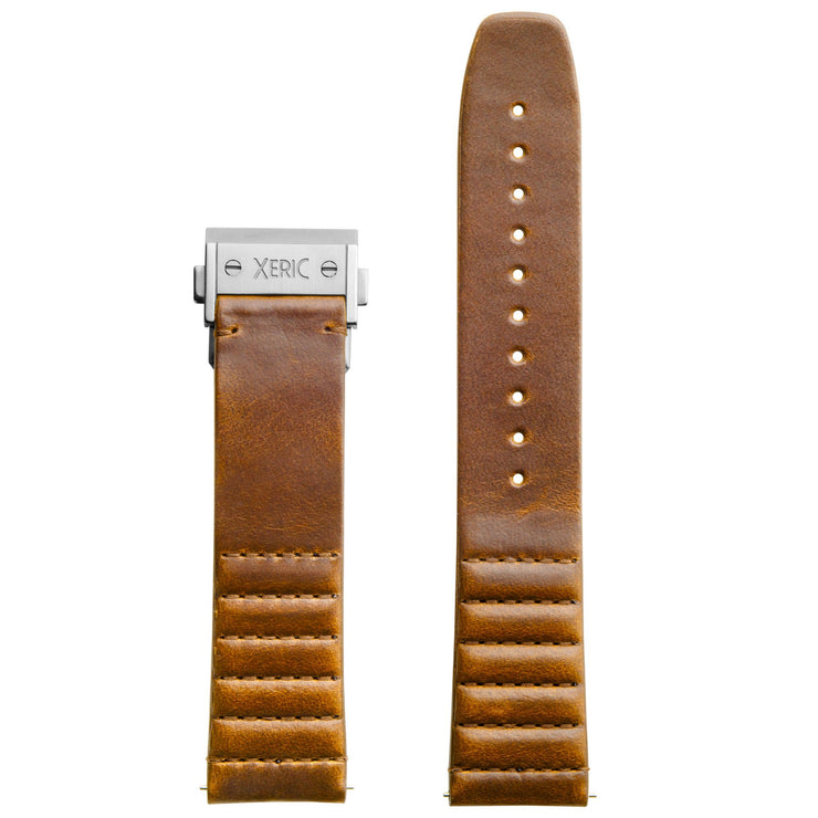Xeric 22mm Ribbed Horween Leather Tan Strap with Silver Deployant Clasp