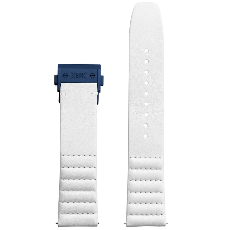 Xeric 22mm Ribbed Italian Leather White Strap with Blue Deployant Clasp