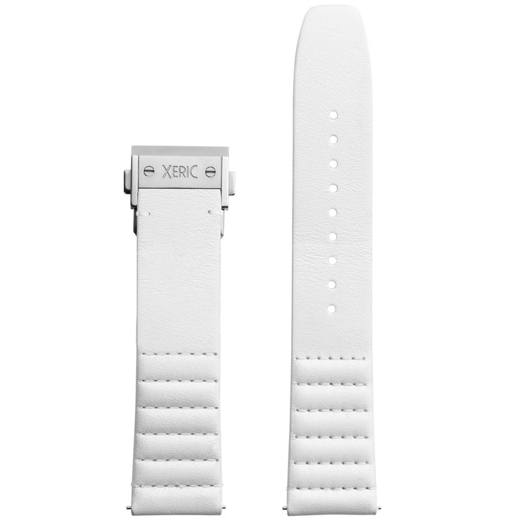Xeric 22mm Ribbed Italian Leather White Strap with Silver Deployant Clasp