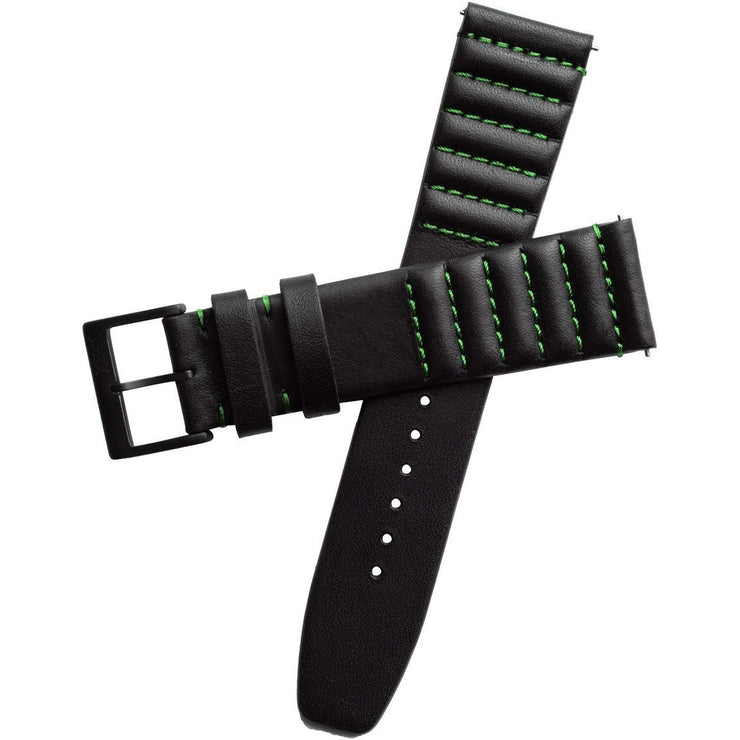 Xeric 20mm Ribbed Horween Leather Black/Green Strap