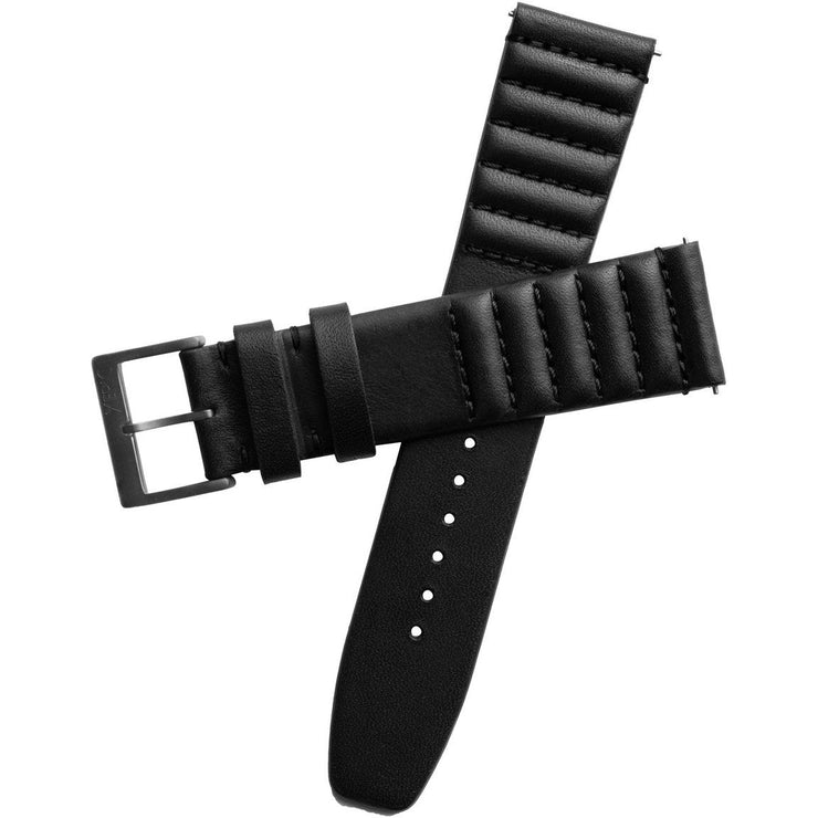 Xeric 22mm Ribbed Horween Leather Black Strap Gun Buckle