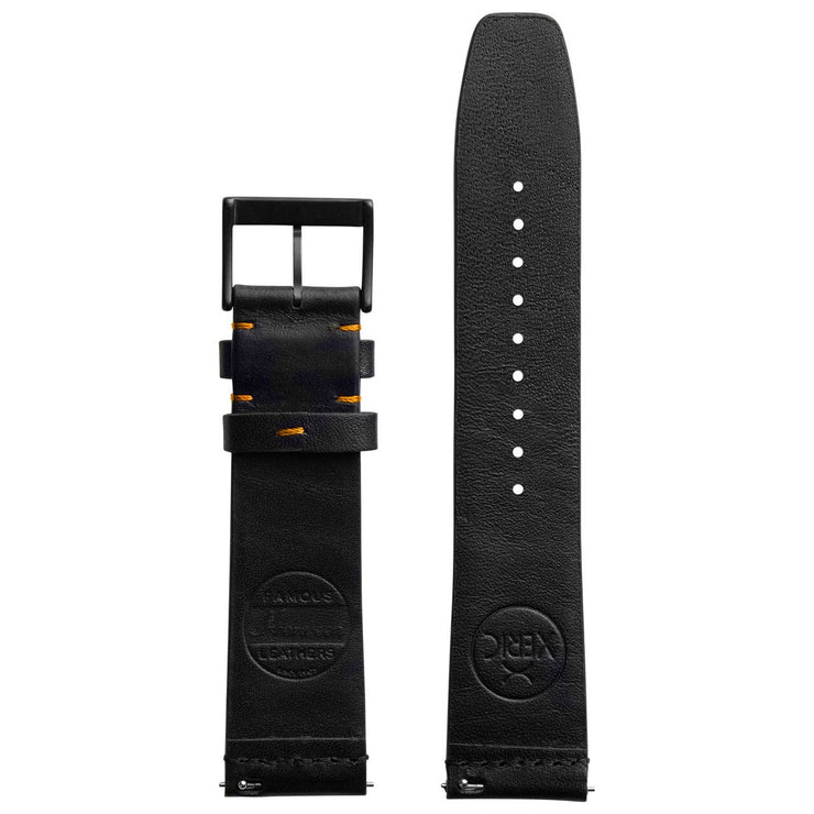 Xeric 20mm Ribbed Horween Leather Black Orange Strap Black Buckle