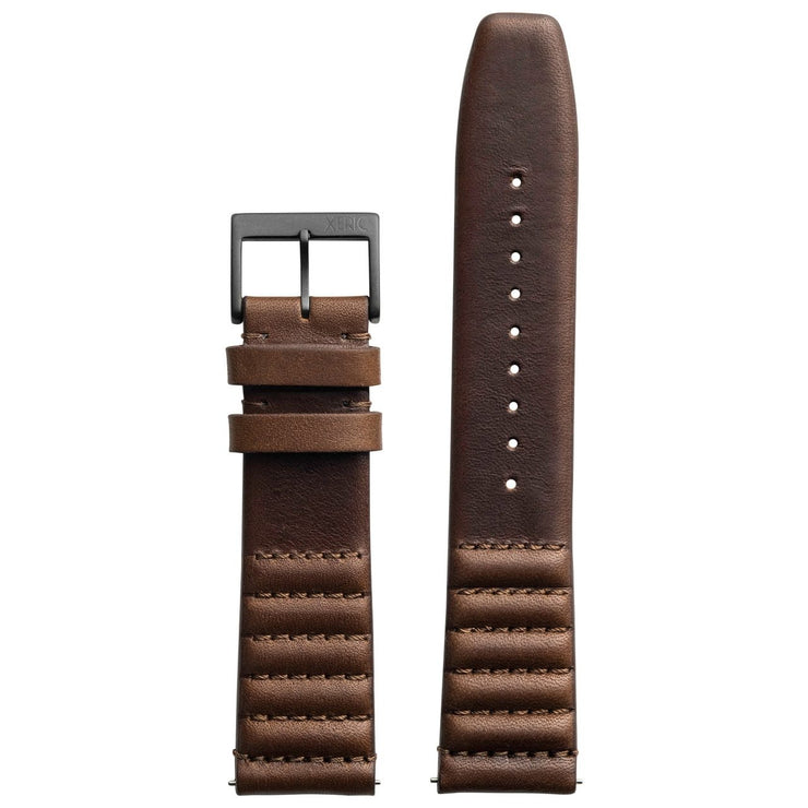 Xeric 20mm Ribbed Horween Leather Brown Strap Gunmetal Buckle