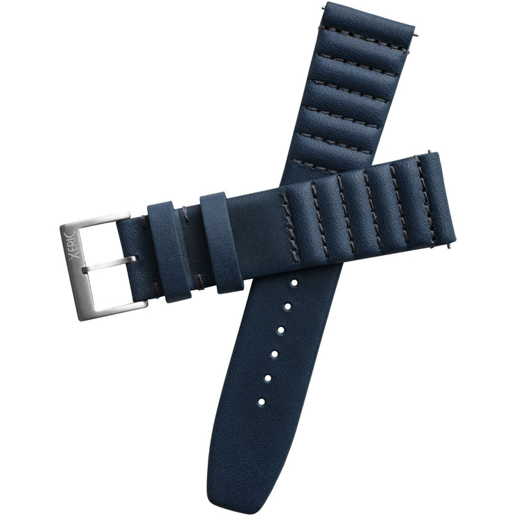 Xeric 20mm Ribbed Horween Leather Navy Strap with Silver Buckle