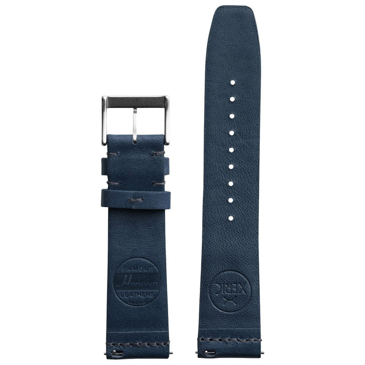 Xeric 20mm Ribbed Horween Leather Navy Strap Silver Buckle