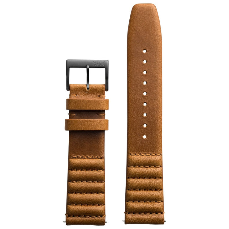 Xeric 20mm Ribbed Horween Leather Tan Strap Gunmetal Buckle