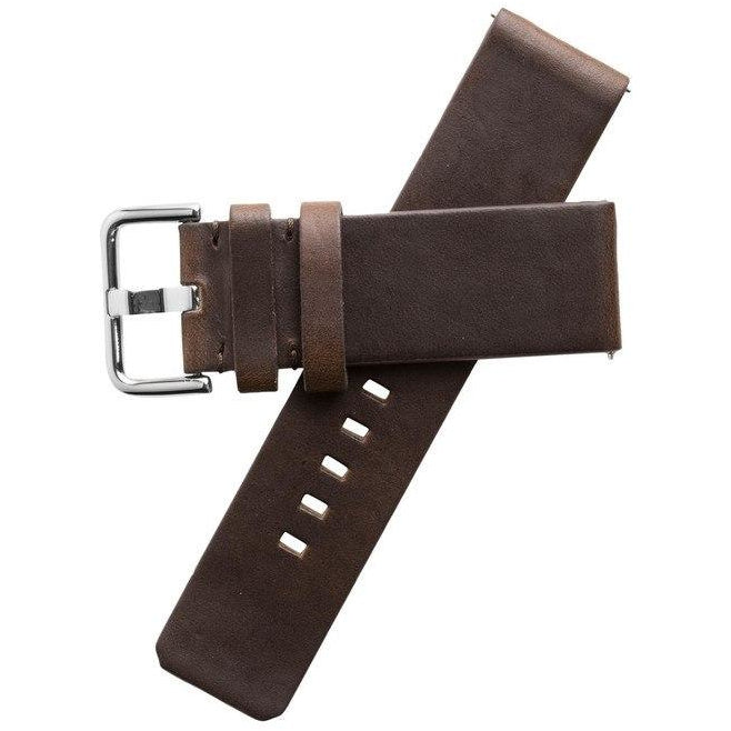 Xeric 24mm American Horween Brown/Silver Leather Strap