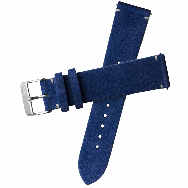 Xeric 22mm Italian Suede Blue Strap Silver Buckle