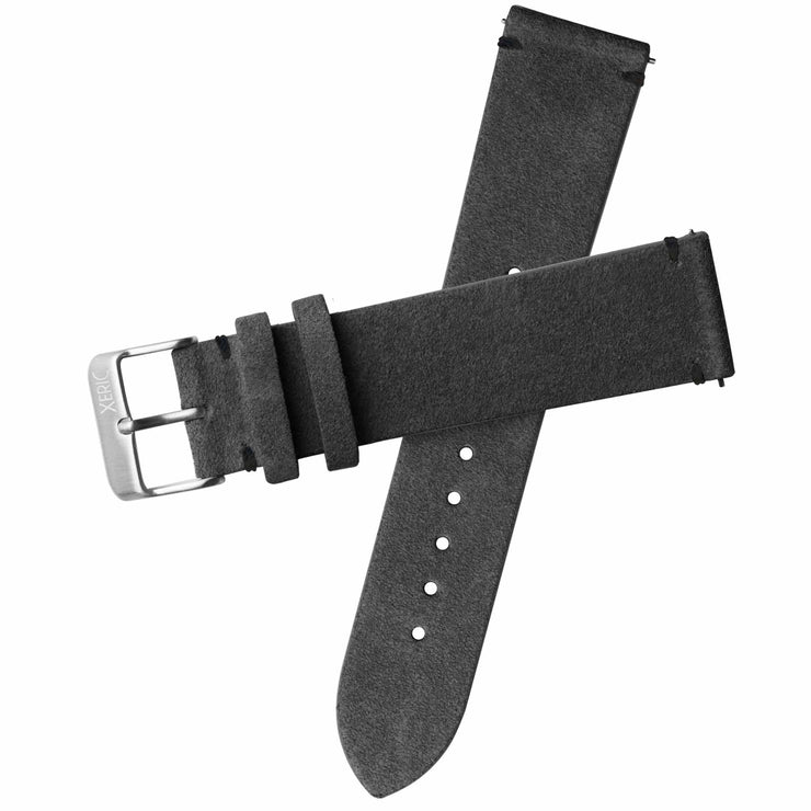 Xeric 22mm Italian Suede Charcoal Strap Silver Buckle