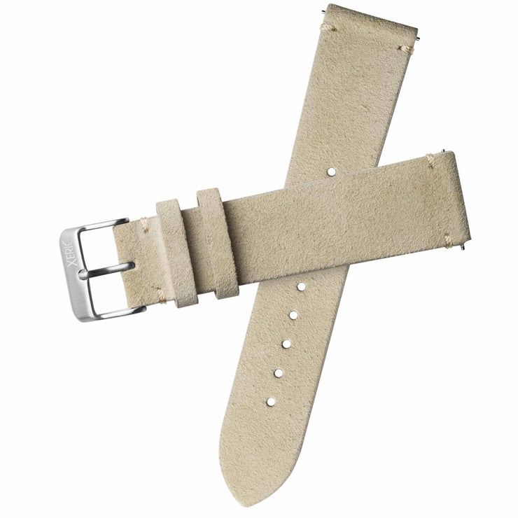 Xeric 22mm Italian Suede Wheat Strap Silver Buckle