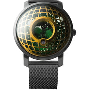 Trappist-1 Moonphase Brass Green Mesh