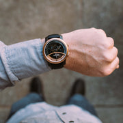 Vendetta Automatic Wandering Hour Rose Gold Black xeric wrist