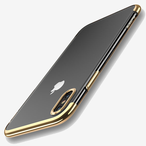 Thin tranparant case gold Iphone