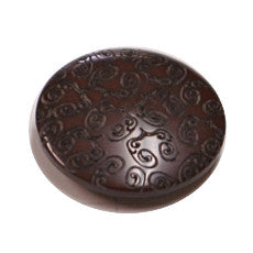 Buttons - Chocolate 15mm button with embossed design