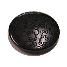 Buttons - Black 15mm button with embossed design
