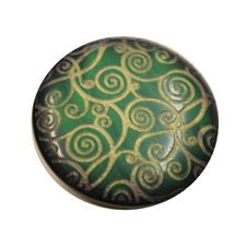 Buttons - Emerald Green embossed 18mm button with Gold pattern