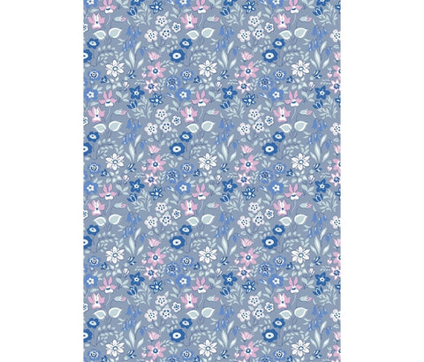Liberty Fabric -Deco Dance Collection - Silver Bells Blue