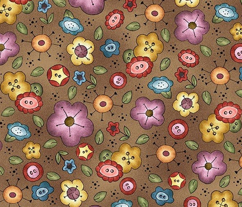 Michael Miller Fabric - Background Bouquet Brown