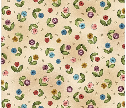 Michael Miller Fabric - Button Buds Beige