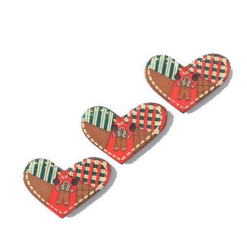 Buttons - Gingerbread Man Heart Button