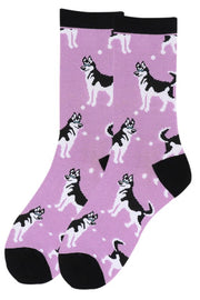 Women's Fun Siberian Husky Dog Crew Socks