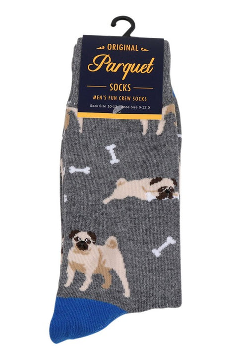 Men's Fun Pug Dog Crew Socks