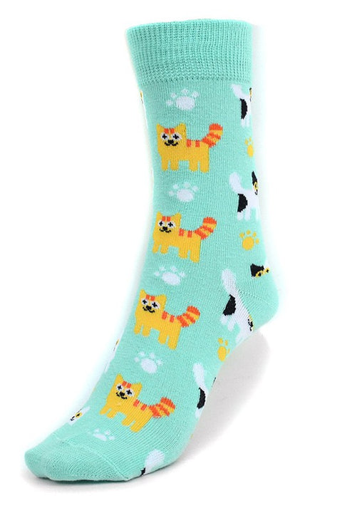 Women's Fun Kittens Pattern Paw Crew Socks