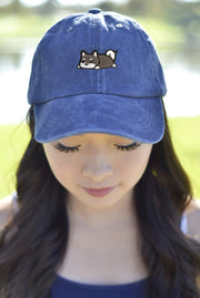 Relaxing Black Shiba Inu Dad Cap - Wash Style
