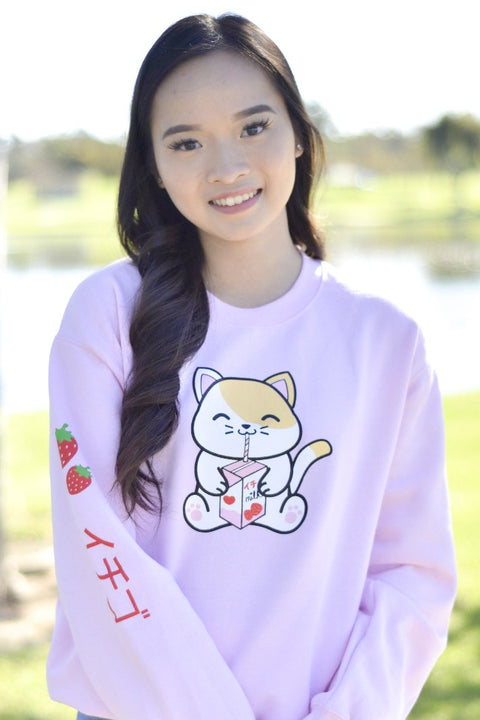 Strawberry Milk Box Kitty Sweatshirt